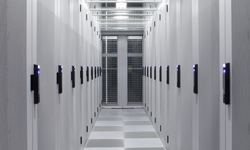 Data center corridor with racks